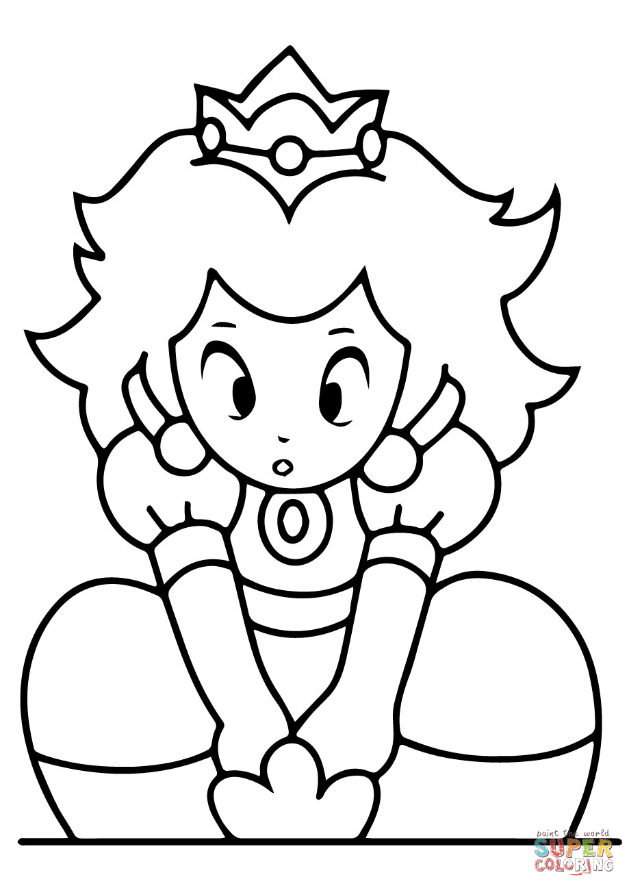 Peach From Mario Coloring Pages Kawaii Princess Peach Coloring Page Free Printable Coloring Pages