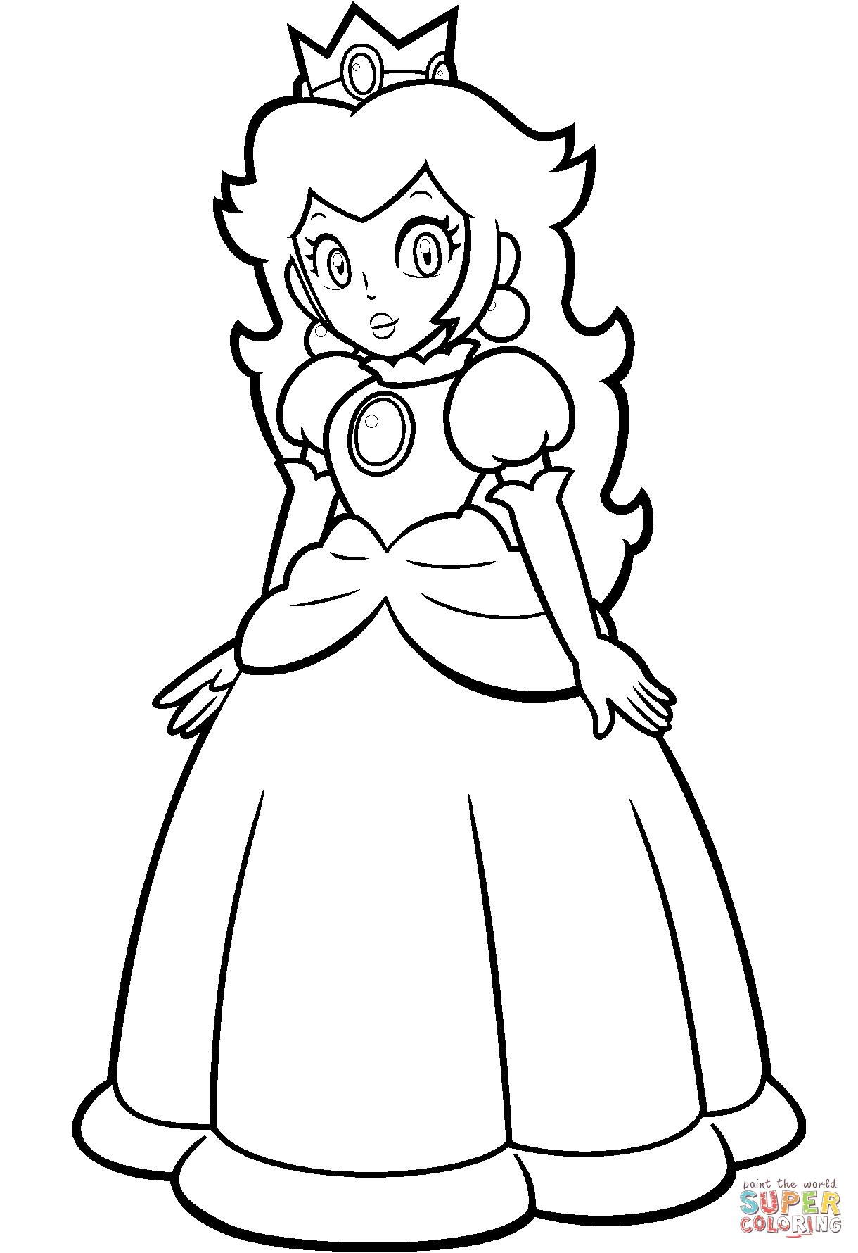 Peach From Mario Coloring Pages Mario Princess Peach Coloring Page Free Printable Coloring Pages