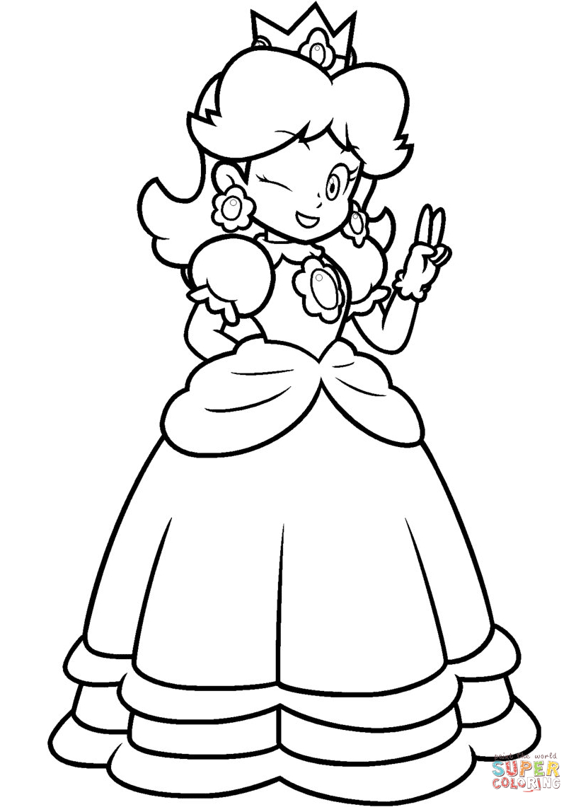Peach From Mario Coloring Pages Super Mario Bros Daisy Coloring Page Free Coloring Pages For Kids