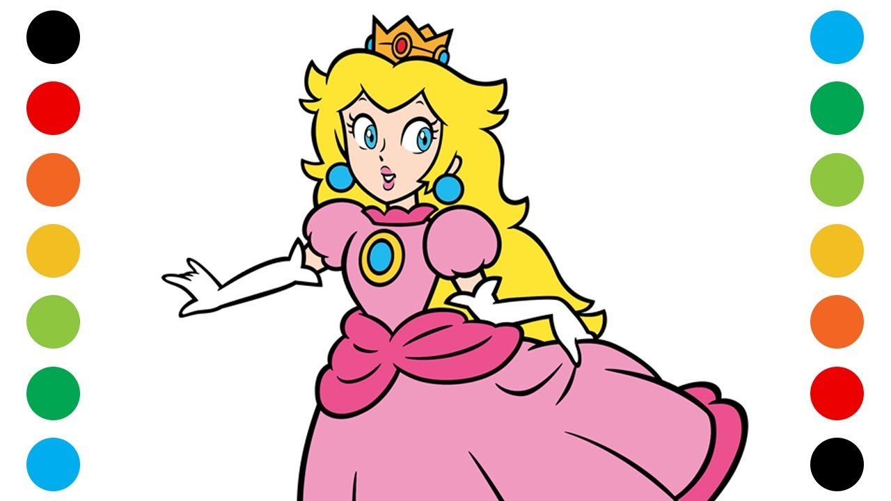 Peach From Mario Coloring Pages Super Mario Princess Peach Coloring Pages For Kids Digital Coloring
