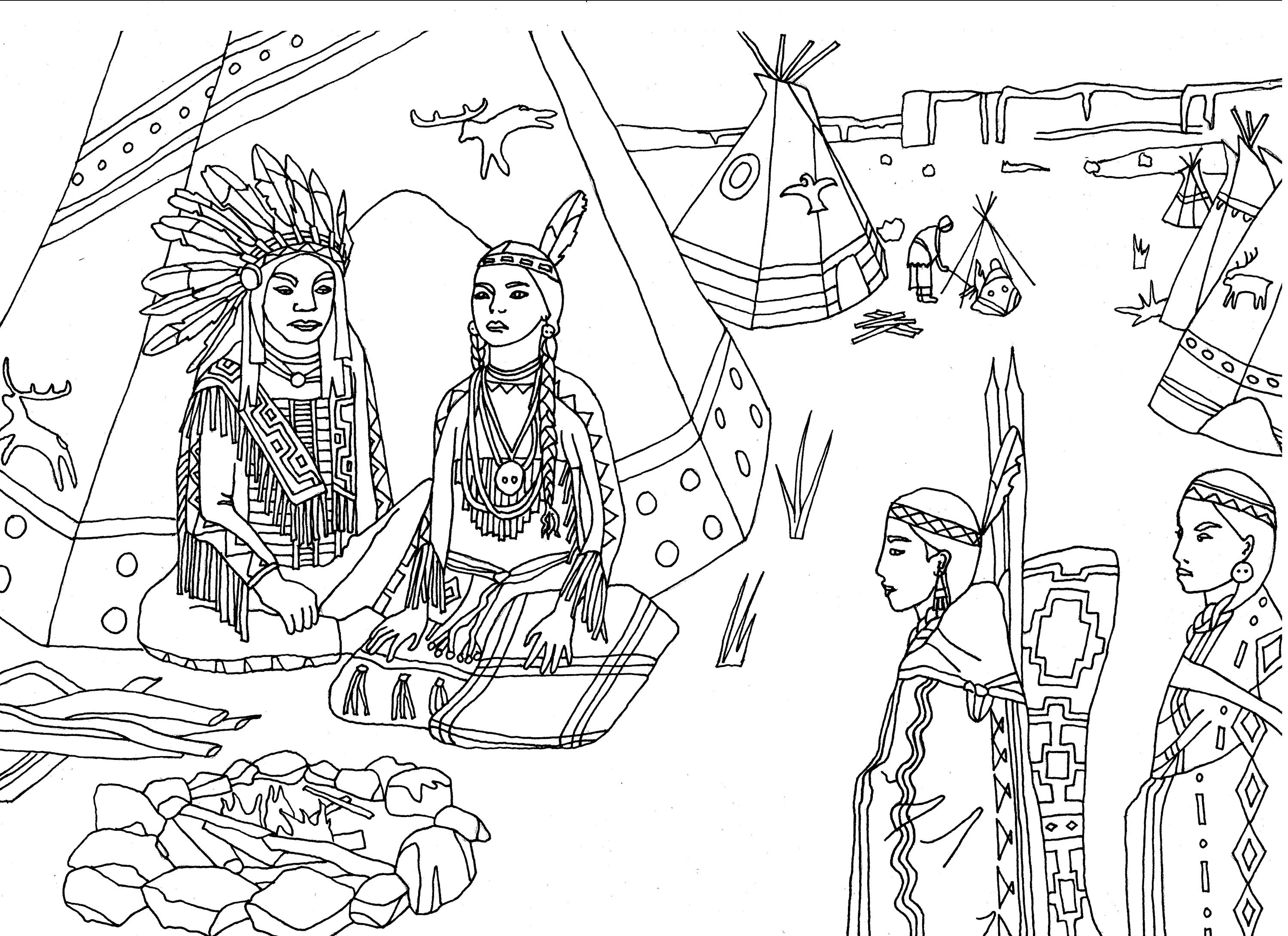 Pilgrim Indian Coloring Pages Cherokee Indian Coloring Pages Fun Time