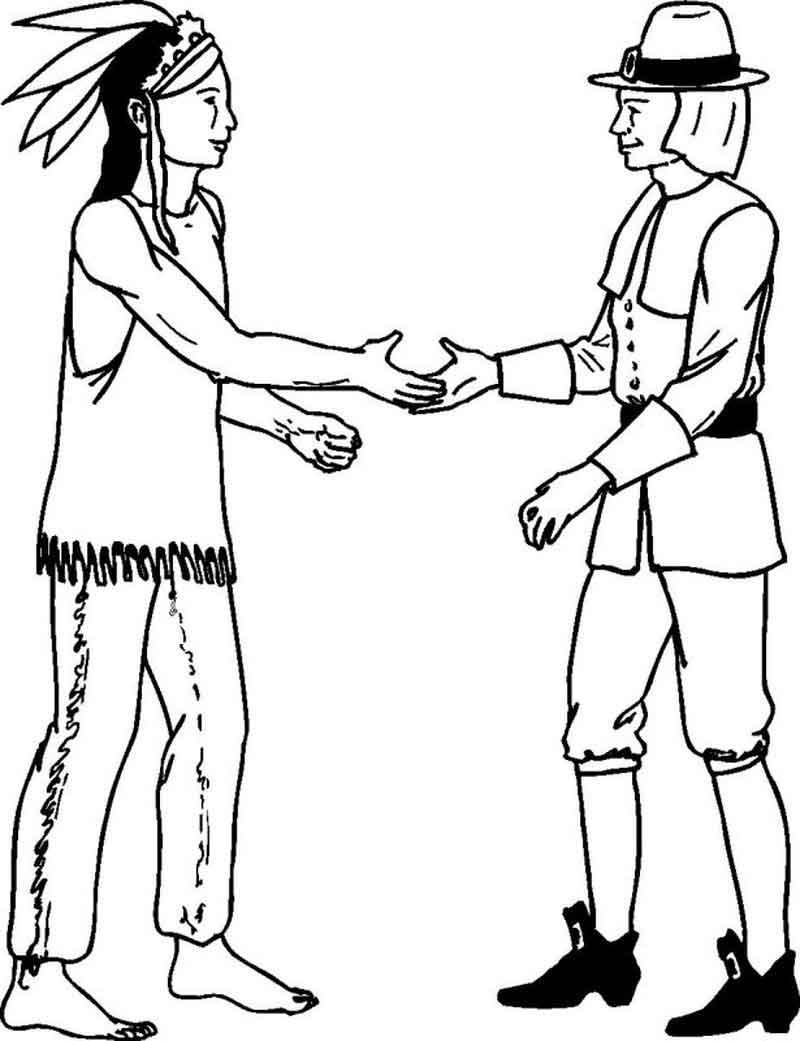Pilgrim Indian Coloring Pages Friendly Pilgrim And Indian Coloring Page Printable Coloring Sheets