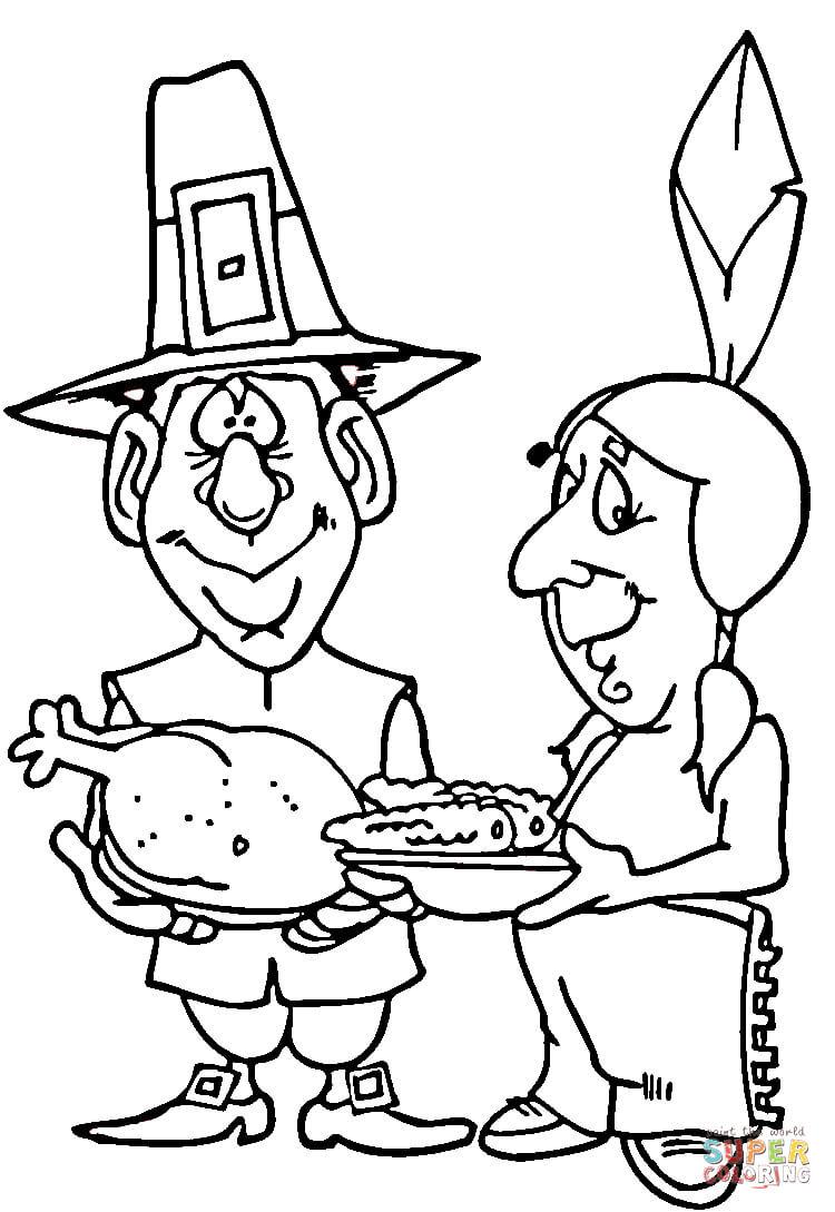 Pilgrim Indian Coloring Pages Pilgrim And Indian Coloring Page Free Printable Coloring Pages