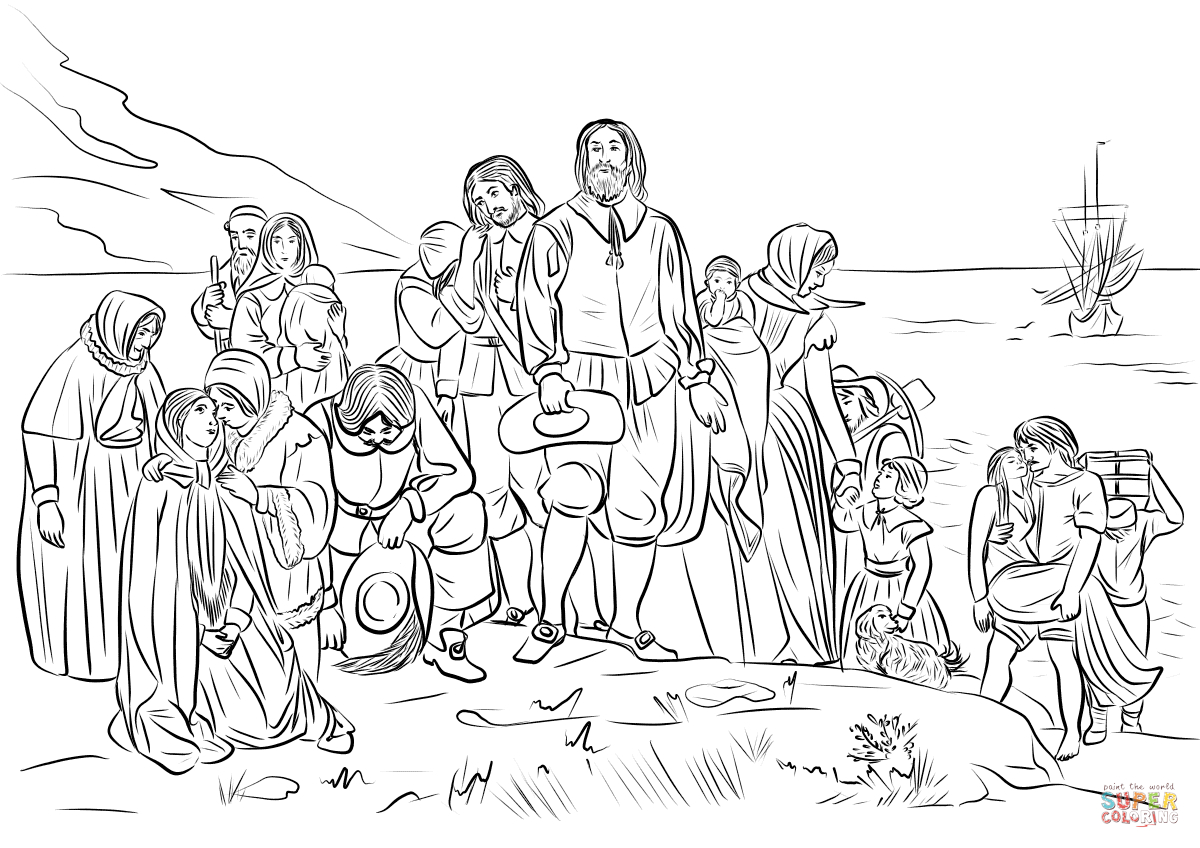 Pilgrim Indian Coloring Pages The First Landing Of Mayflower Pilgrims Lead Myles Standish