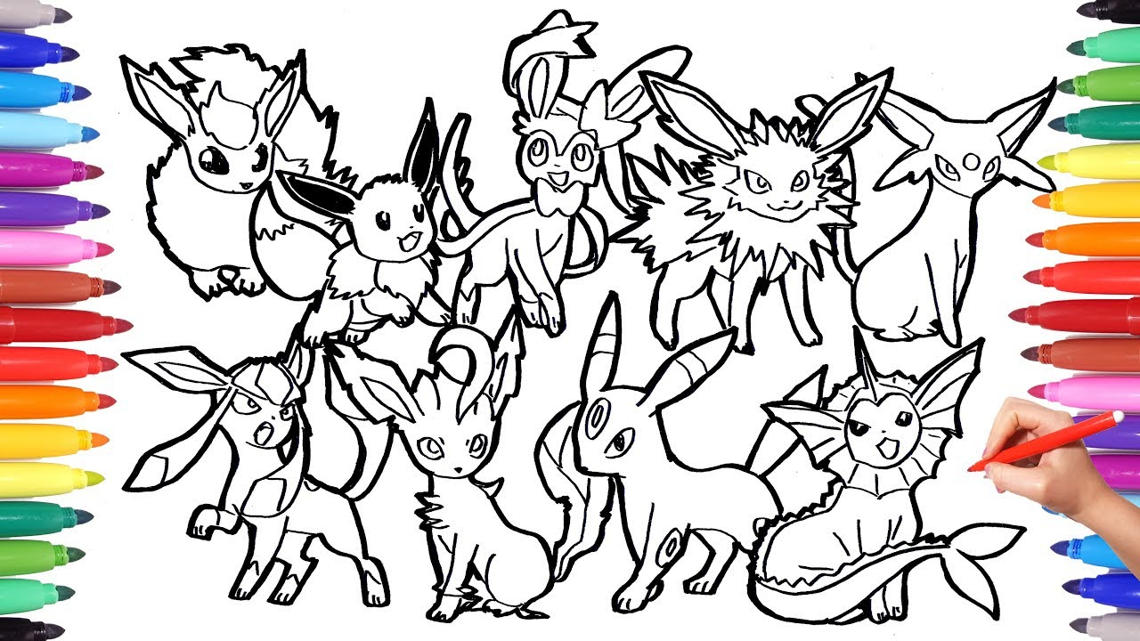 Pokemon Eevee Evolutions Coloring Pages Pokemon Coloring Pages Eevee Evolution Pokemon Coloring Book Fun Art For Kids