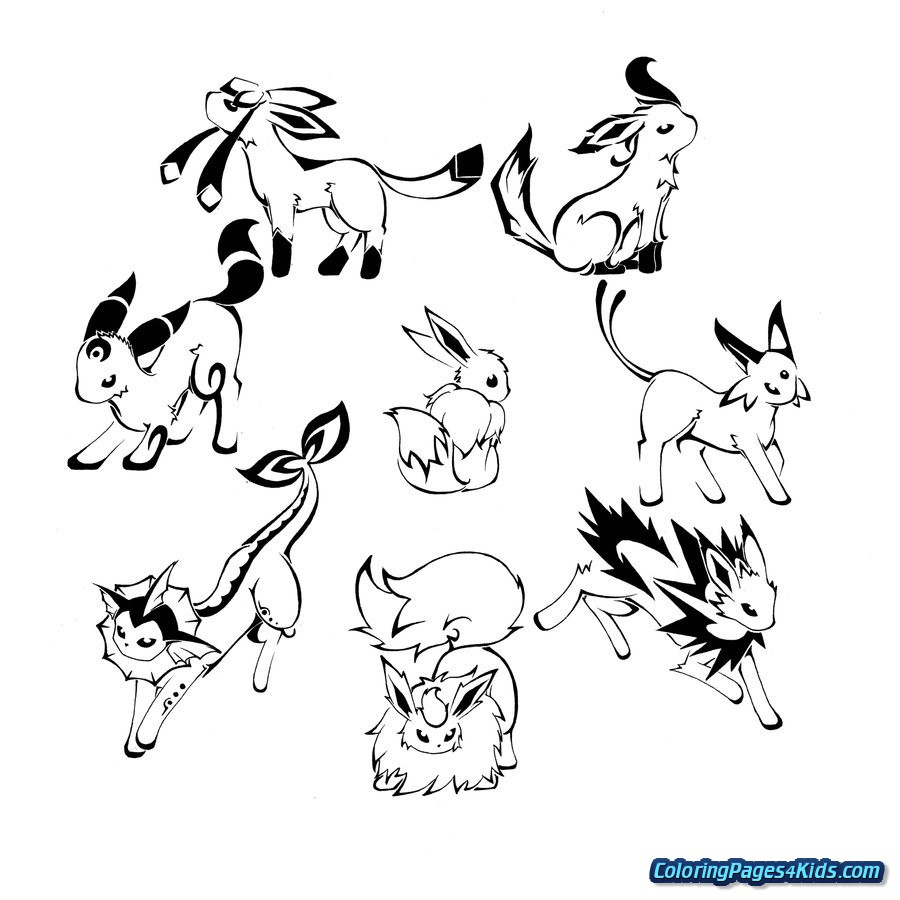 Pokemon Eevee Evolutions Coloring Pages Pokemon Coloring Pages Eevee Evolutions Together Sleekads