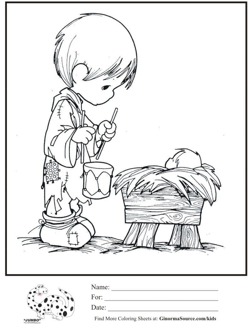 Precious Moments Baby Coloring Pages Coloring Ideas Kids Coloring Page Precious Moments Little Drummer