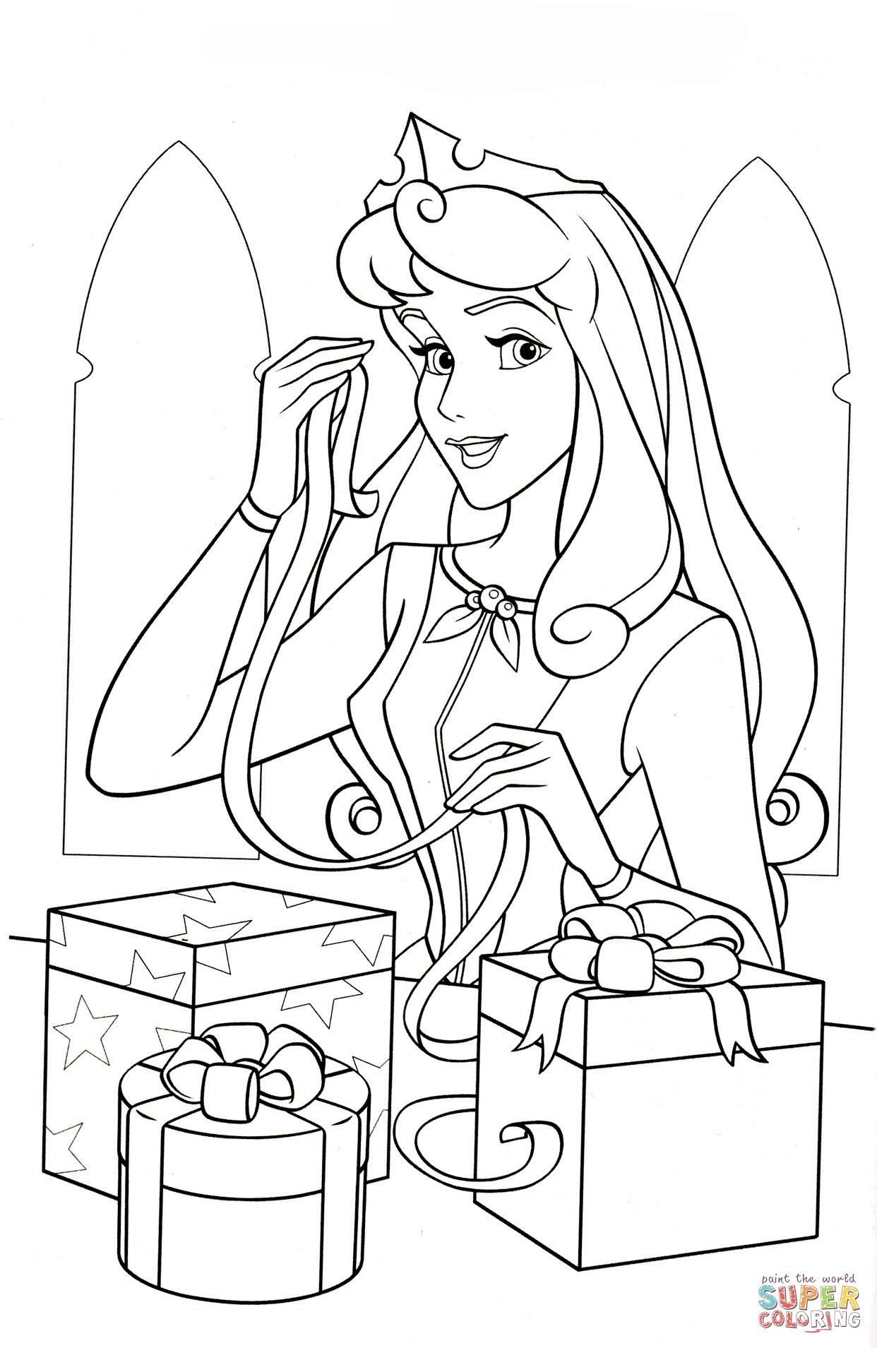 Princess Aurora Coloring Pages Free Princess Aurora Loves Christmas Coloring Page Free Printable