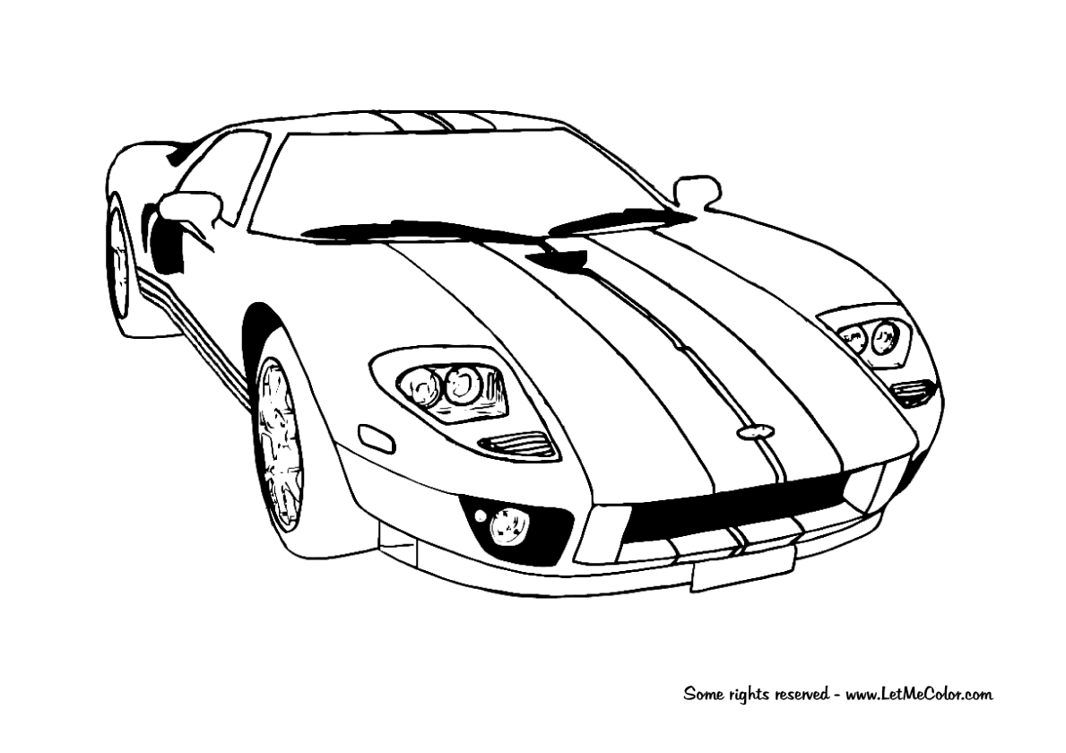 Printable Coloring Pages Cars Coloring Ideas Ford Gt Racing Car Coloring Page Letmecolor