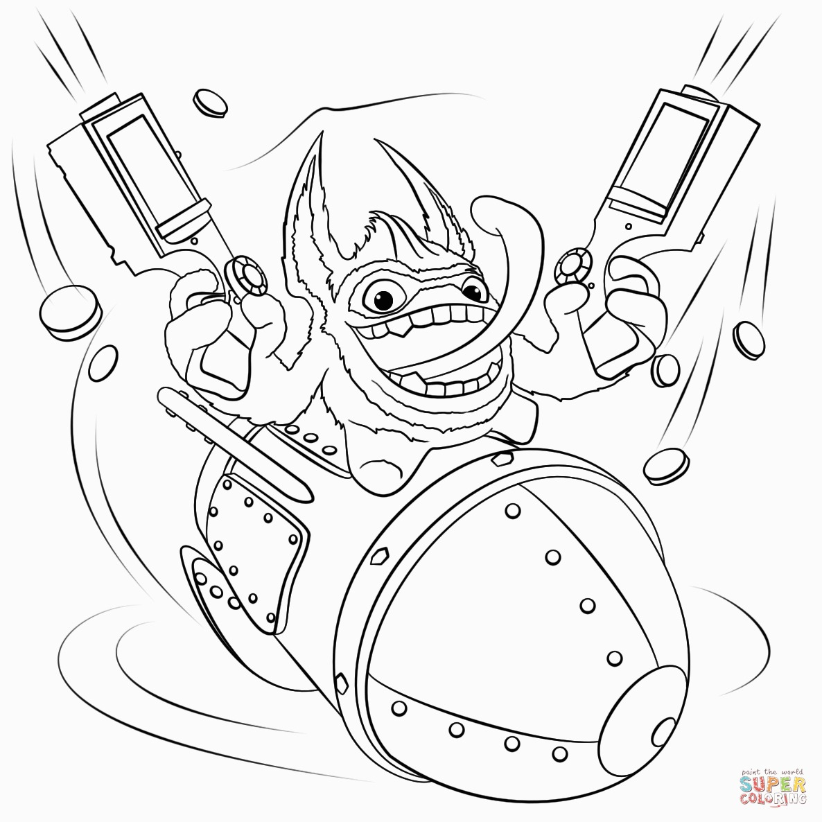 Printable Coloring Pages Skylanders Skylanders Trigger Happy Coloring Page For Printable Coloring Pages