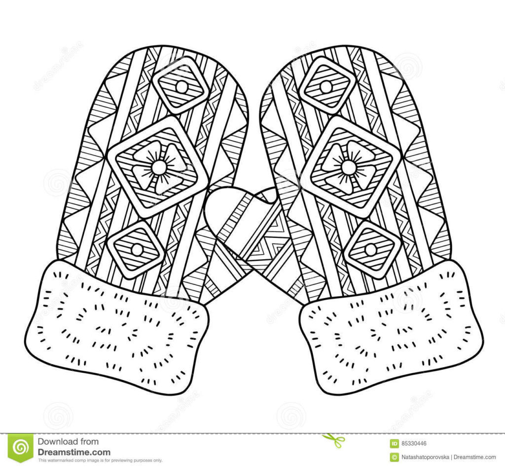 Printable Mitten Coloring Page Coloring Mittenloring Sheet For Preschool Fall Crafts Large Free