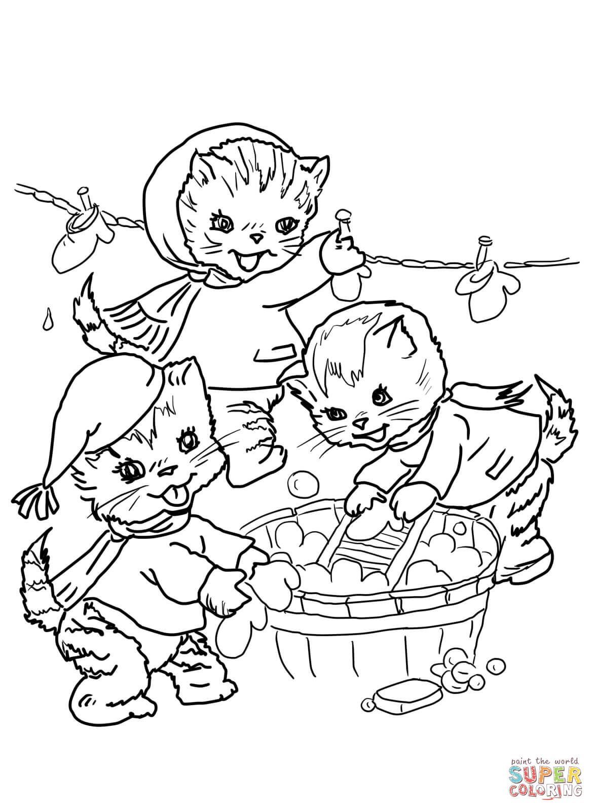 Printable Mitten Coloring Page The Three Little Kittens They Washed Their Mittens Coloring Page
