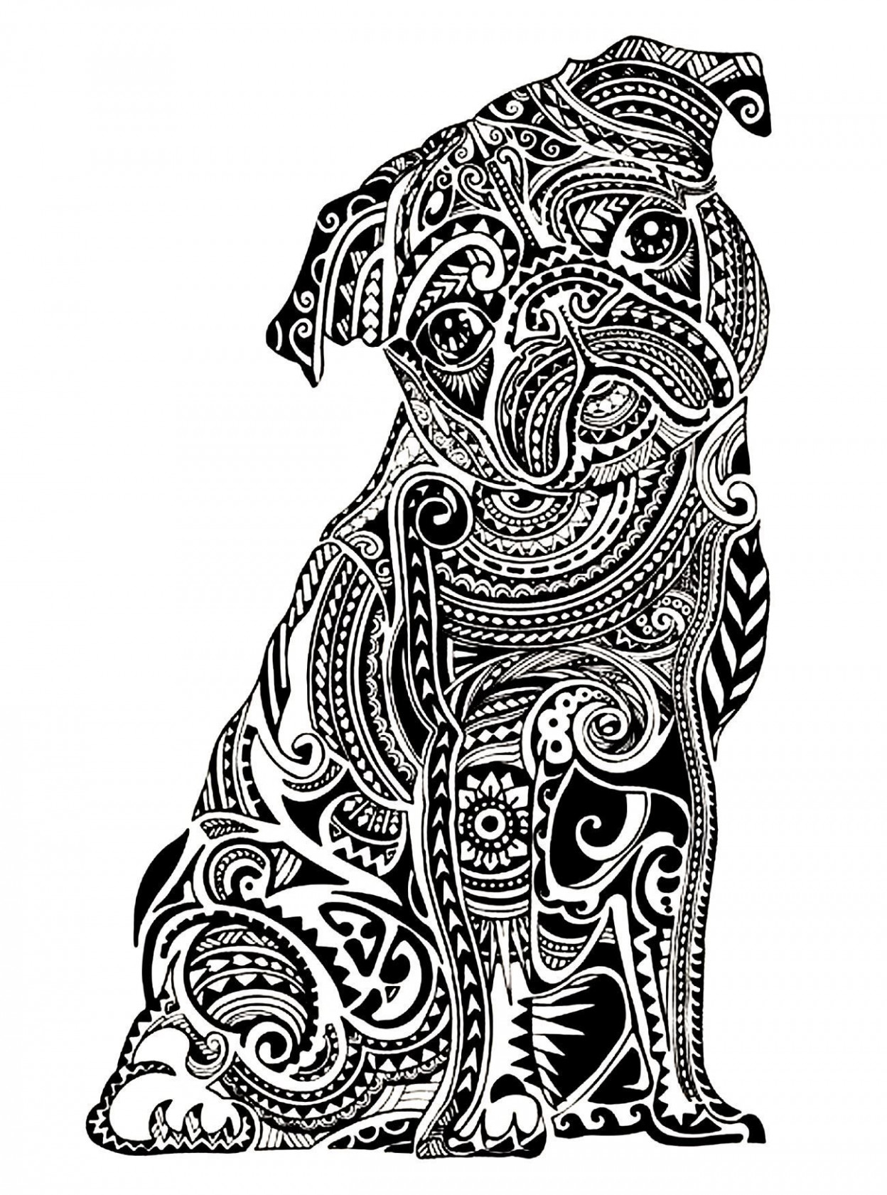 Pug Puppy Coloring Pages Pug Coloring Sheets Zentangle Pug Coloring Page For Adults Www