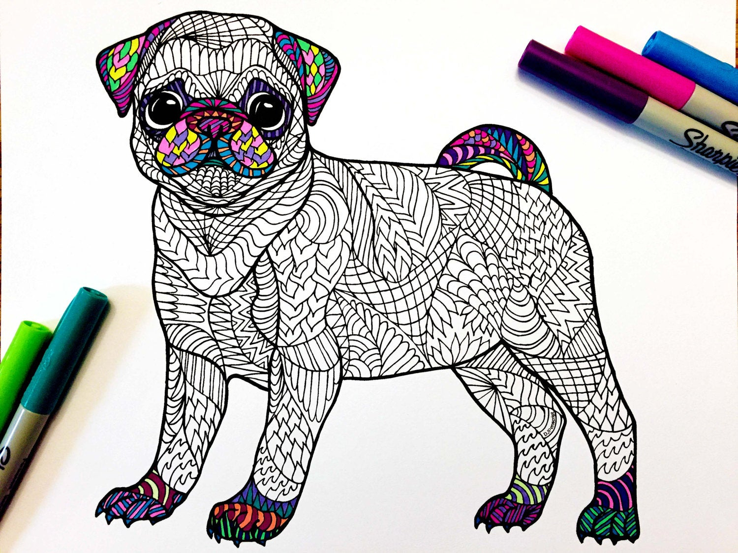Pug Puppy Coloring Pages Pug Puppy Pdf Zentangle Coloring Page