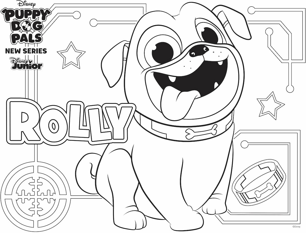 Pug Puppy Coloring Pages Rolly Coloring Page Family Activity Disney Family