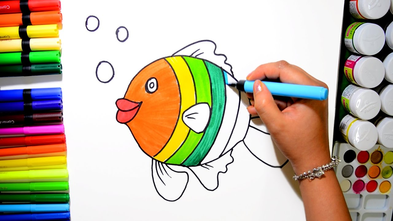 Rainbow Fish Coloring Pages Preschoolers Draw And Color Rainbow Fish Coloring Page And Learn Colors For Kids
