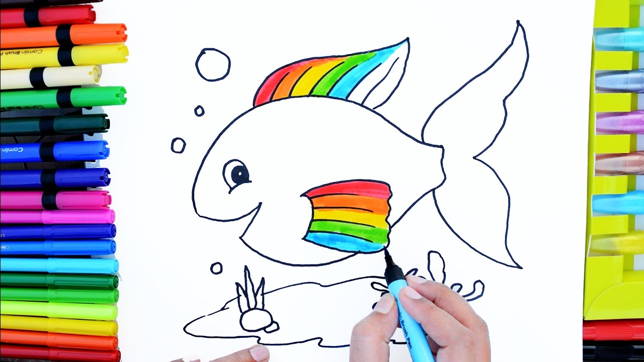 Rainbow Fish Coloring Pages Preschoolers Draw Color Paint Cute Rainbow Fish Coloring Pages And Learn Colors For Kids