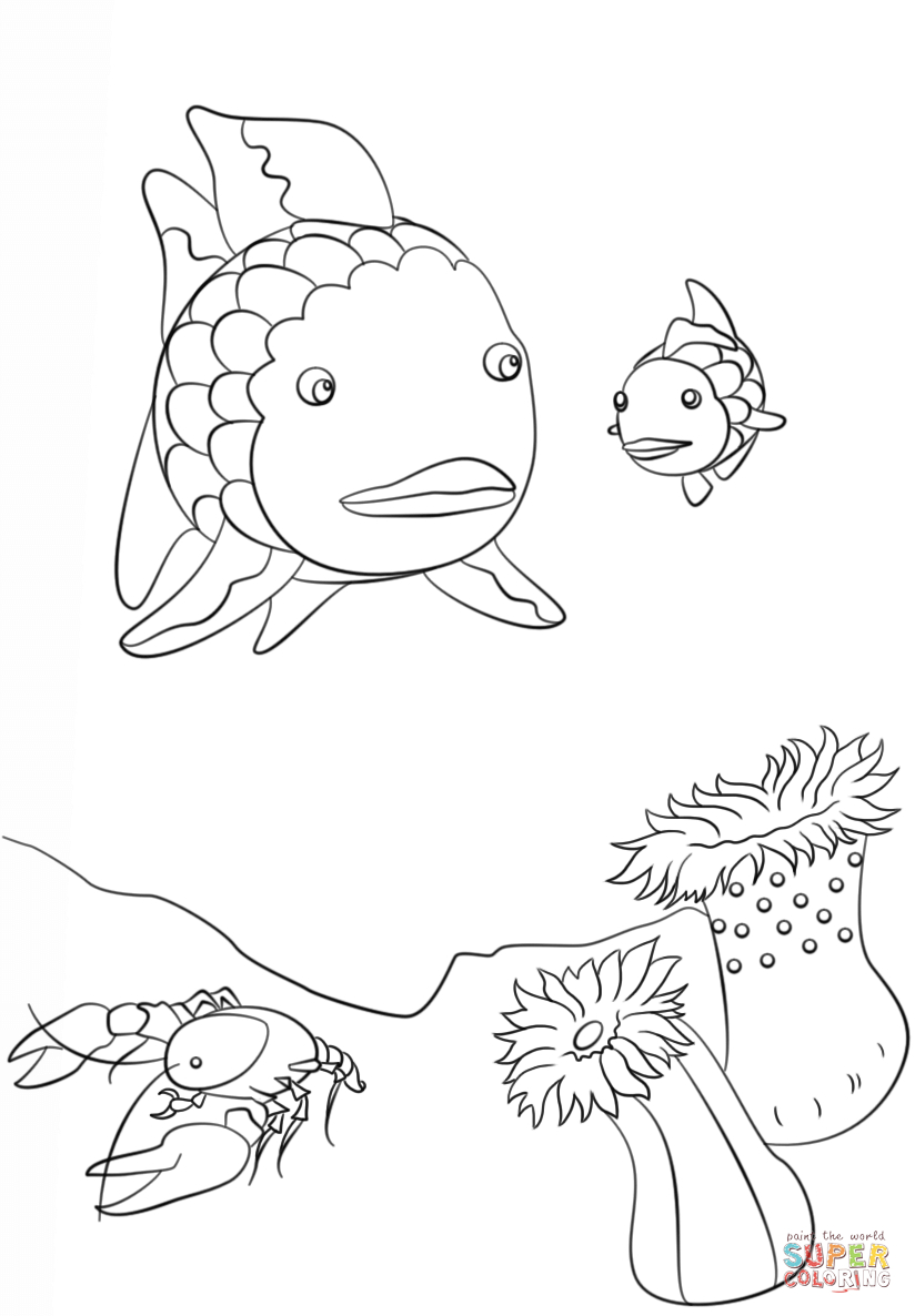 Rainbow Fish Coloring Pages Preschoolers Fish Color Number Printables Fun Rainbow Coloring Page Fish