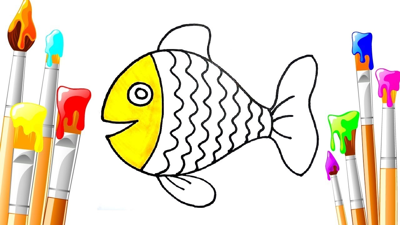 Rainbow Fish Coloring Pages Preschoolers Rainbow Fish Drawing Coloring For Kids Coloring Pages For Children Learn For Kids