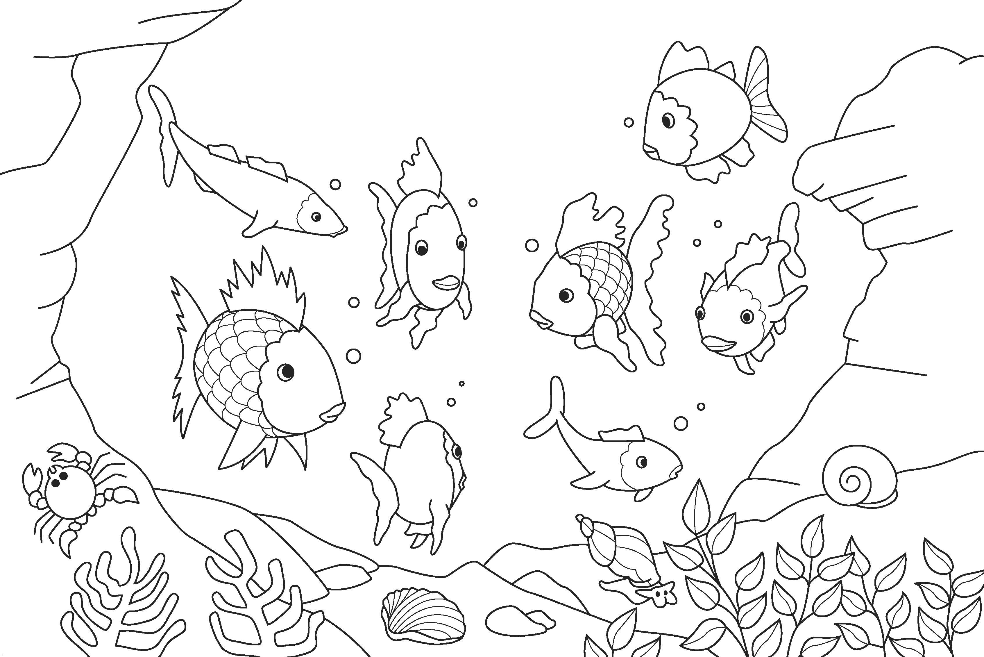 Rainbow Fish Coloring Pages Preschoolers Rainbow Fish Printable Coloring Page Coloring Home