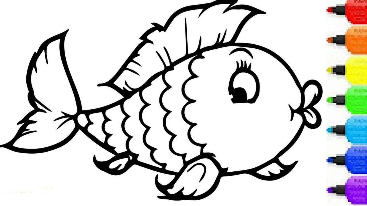 Rainbow Fish Coloring Pages Preschoolers Security Fish Colouring Picture Rainbow And Drawing For Children