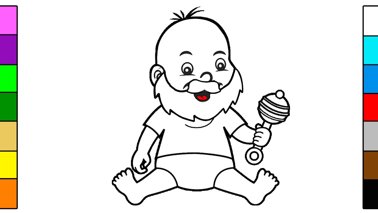 Rattle Coloring Page Bearded Ba Rattle Coloring Page For Children