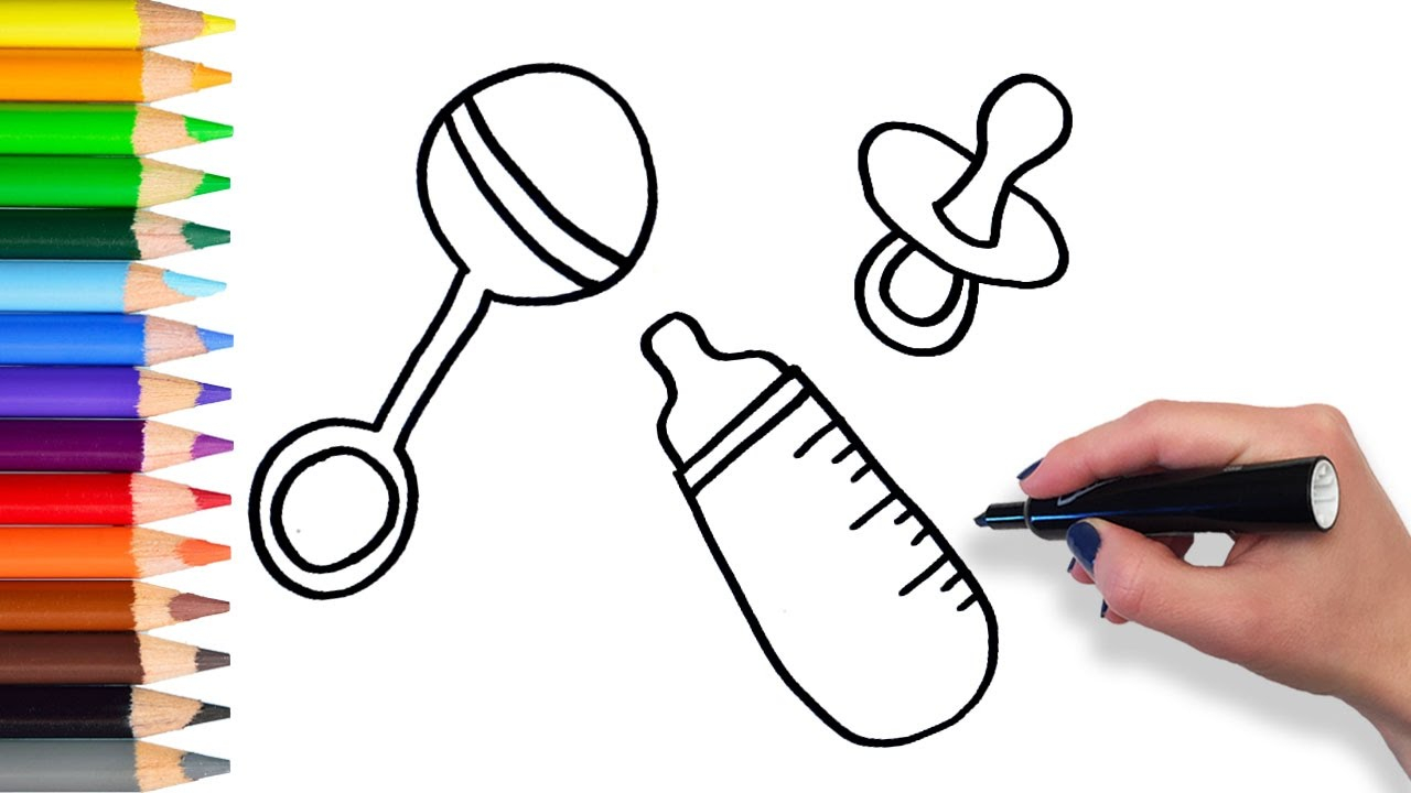 Rattle Coloring Page How To Draw Ba Bottle Rattle Pacifier Teach Drawing For Kids Toddlers Coloring Page Video