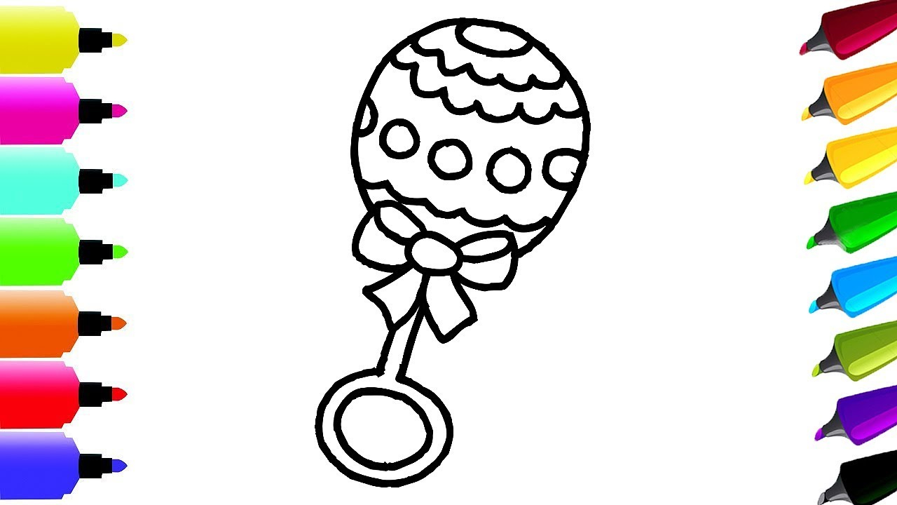 Rattle Coloring Page How To Draw Ba Rattle Girl Pink For Girls Coloring Page And Drawing For Kids
