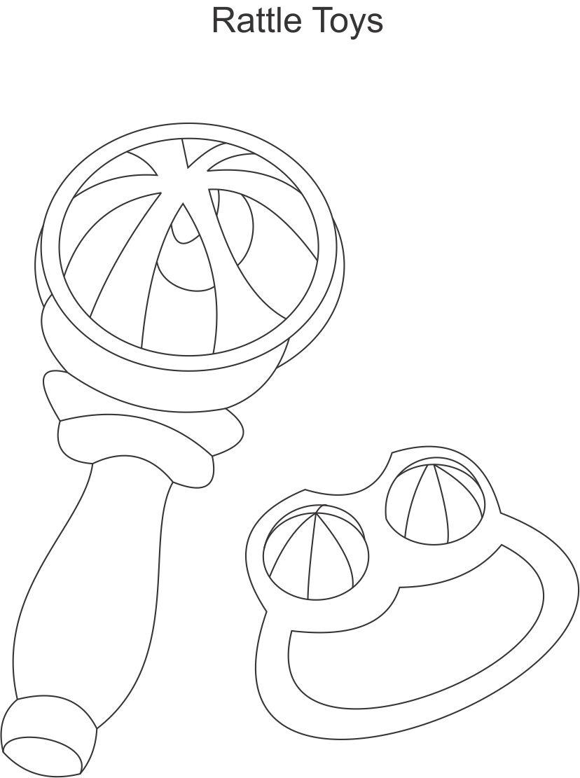 Rattle Coloring Page Rattles Coloring Printable Page For Kids