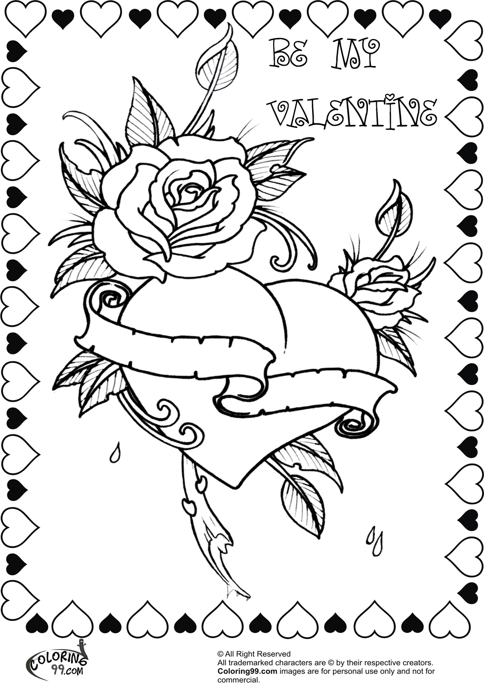 Roses And Hearts Coloring Pages 23 Coloring Pages Of Roses And Hearts Printable Free Coloring