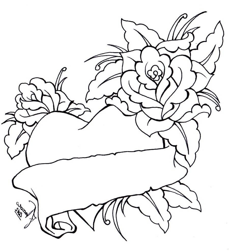 Roses And Hearts Coloring Pages Coloring Coloring Pages Of Hearts And Flowers Free Roses Heart