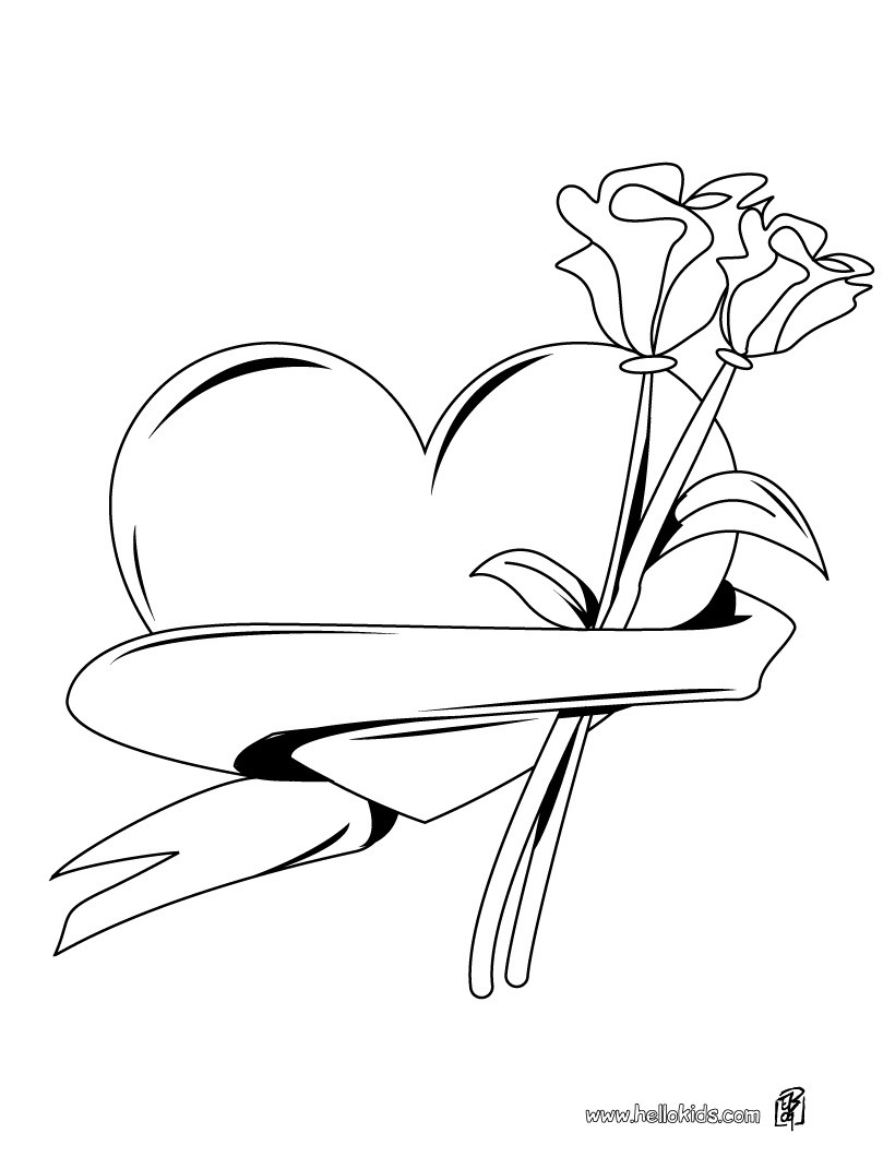 Roses And Hearts Coloring Pages Heart Roses Bunch Coloring Pages Hellokids