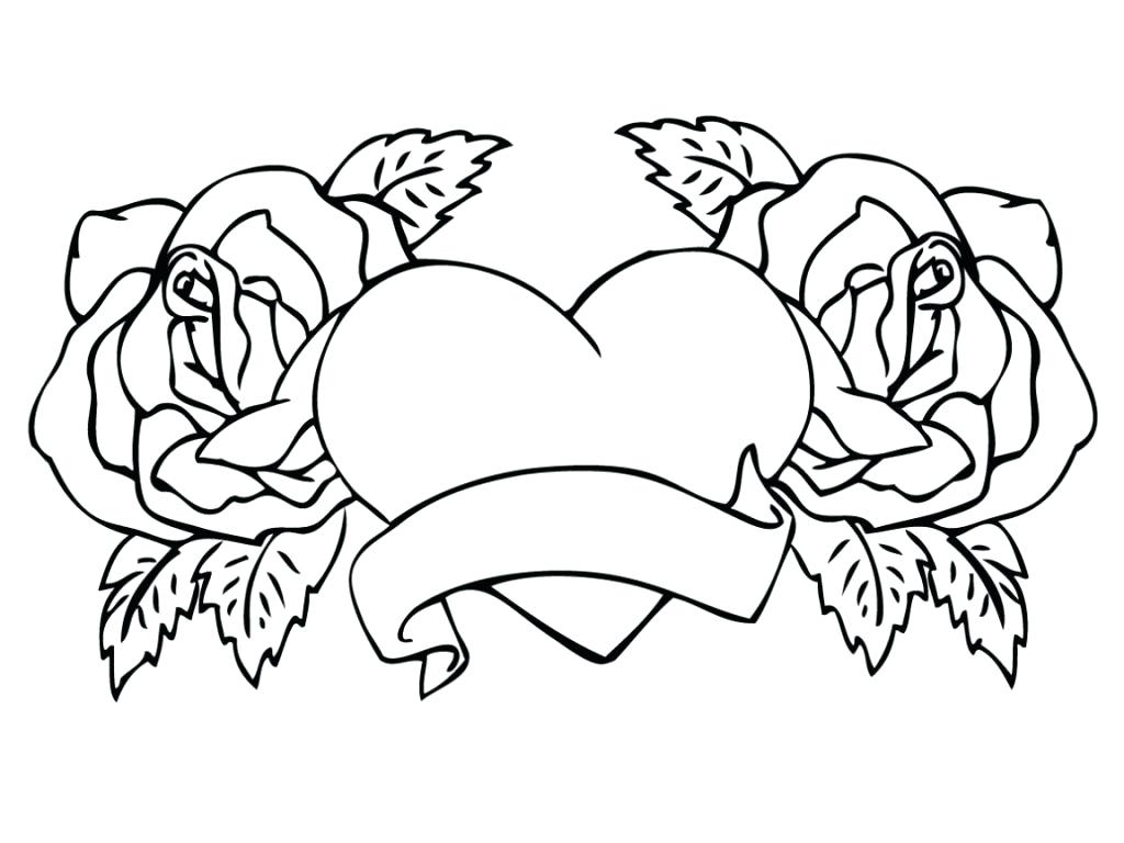 Roses And Hearts Coloring Pages Rose Coloring Pages Free Shieldprintco