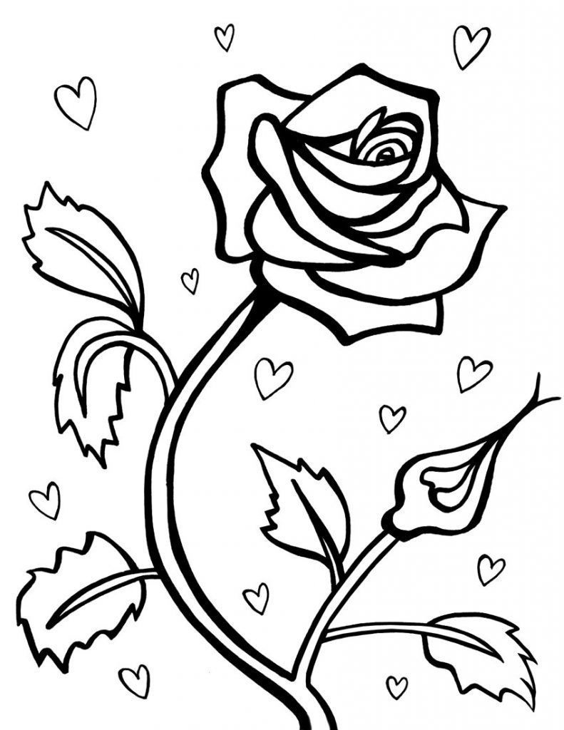 Roses And Hearts Coloring Pages Roses And Hearts Coloring Pages Tingameday