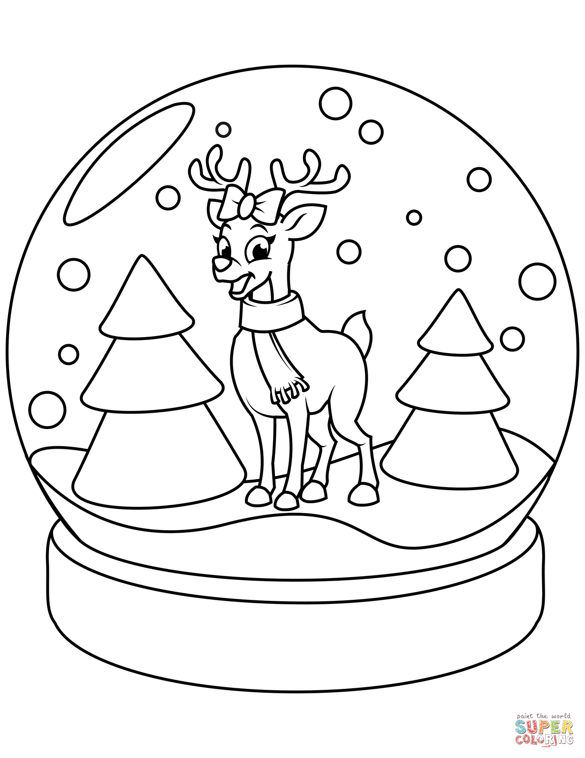 Santa And Rudolph Coloring Pages Odd Reindeer Coloring Pages Snow Globe Page Christmas With