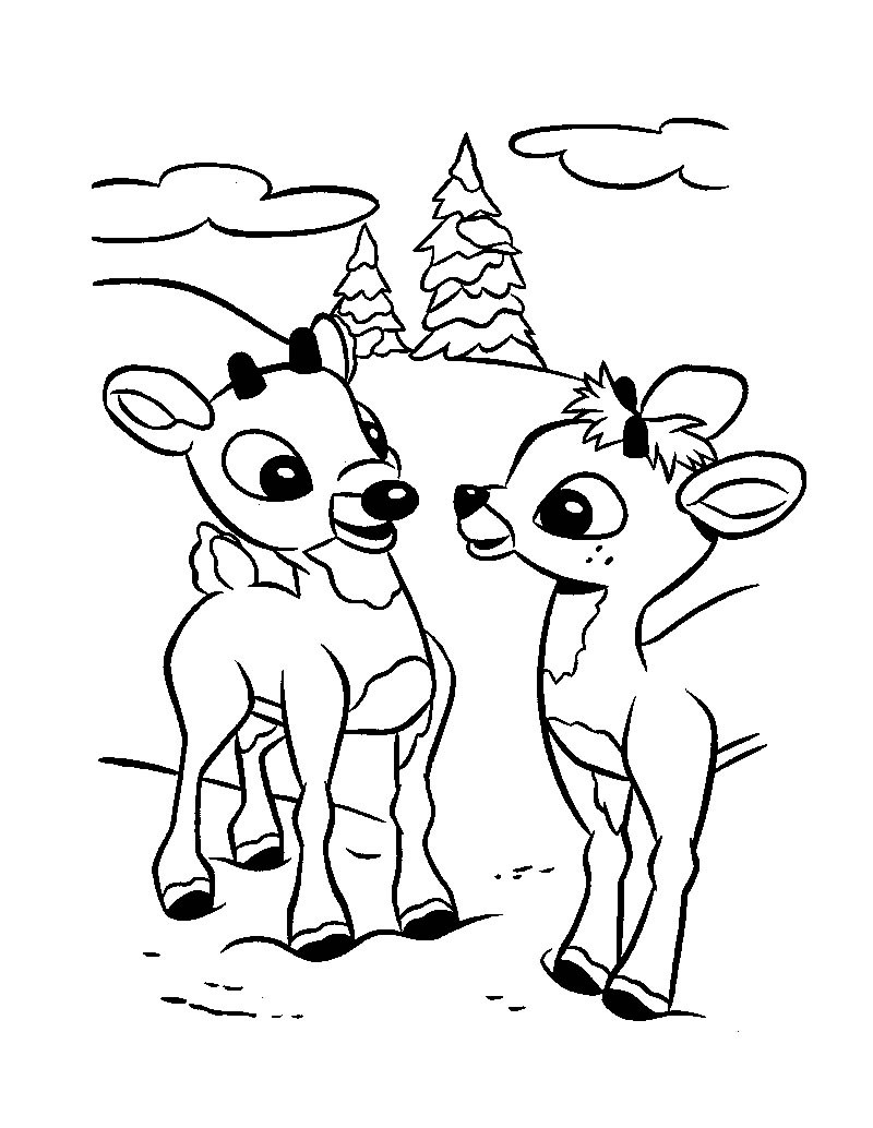 Santa And Rudolph Coloring Pages Rudolph The Red Nosed Reindeer Coloring Pages Hellokids