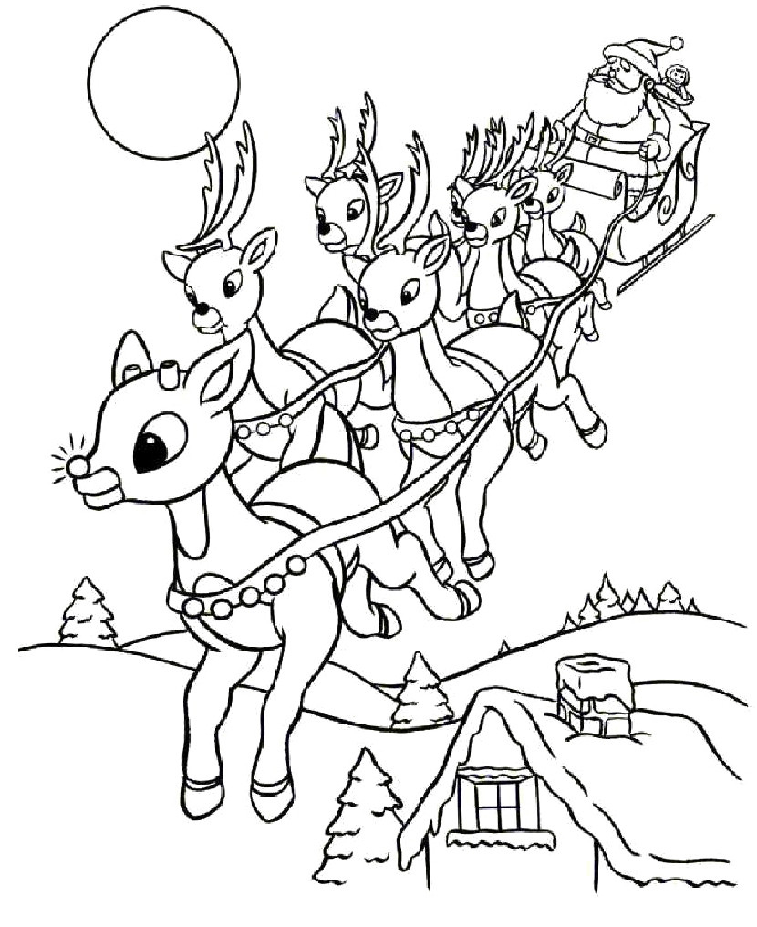 Santa And Rudolph Coloring Pages Santa Sleigh Coloring Pages Printable At Getdrawings Free For