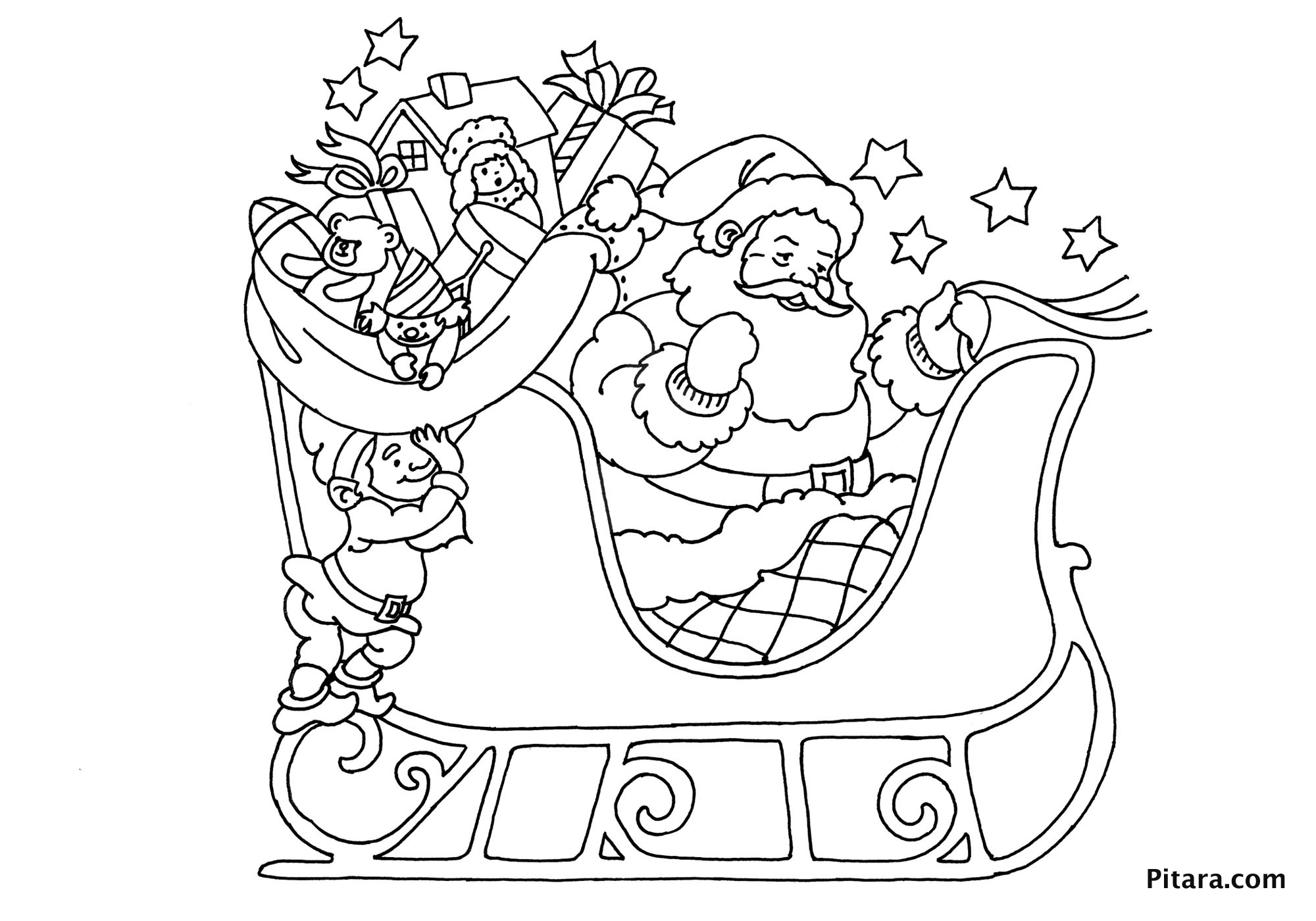 Santa Claus In Sleigh Coloring Page Christmas Coloring Pages For Kids Pitara Kids Network