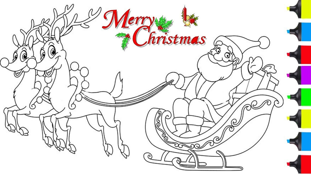 Santa Claus In Sleigh Coloring Page How To Draw Santa Clause On Sleigh Coloring Pages For Kids Learn Art Easy