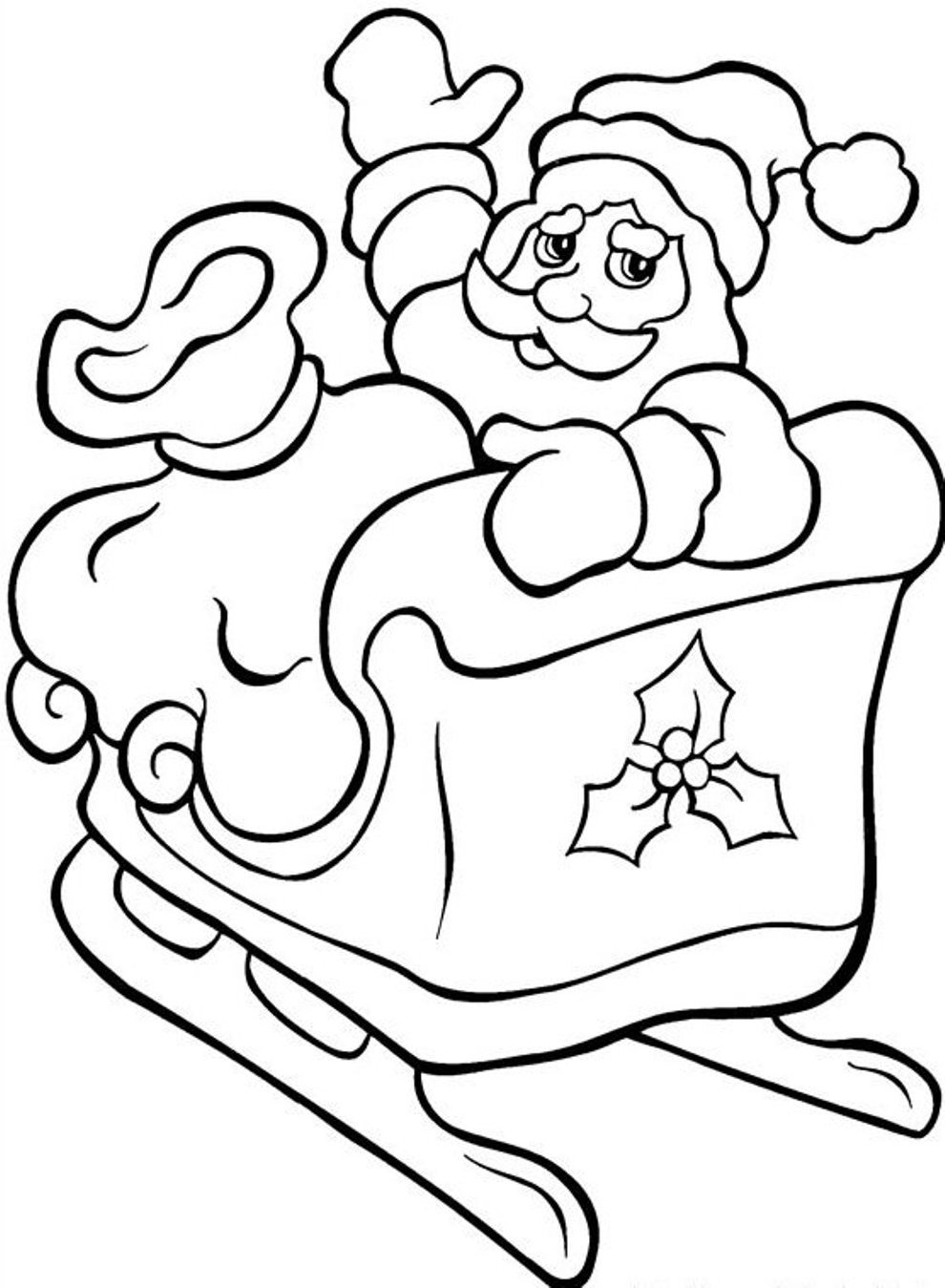 Santa Claus In Sleigh Coloring Page Printable Coloring Pages Christmas Santa With His Sleigh Christmas