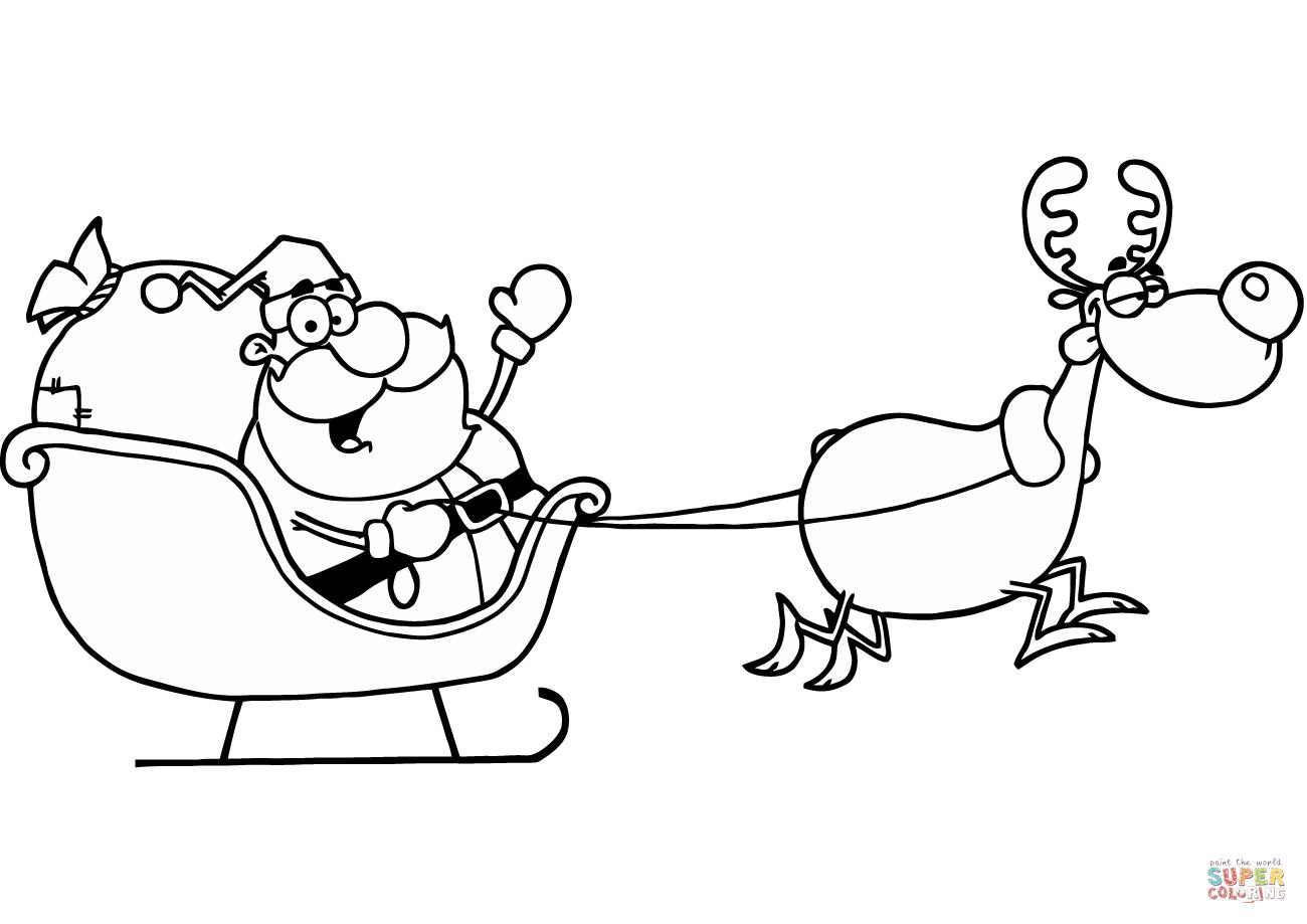 Santa Claus In Sleigh Coloring Page Santa Claus Riding His Sleigh Coloring Page Free Printable
