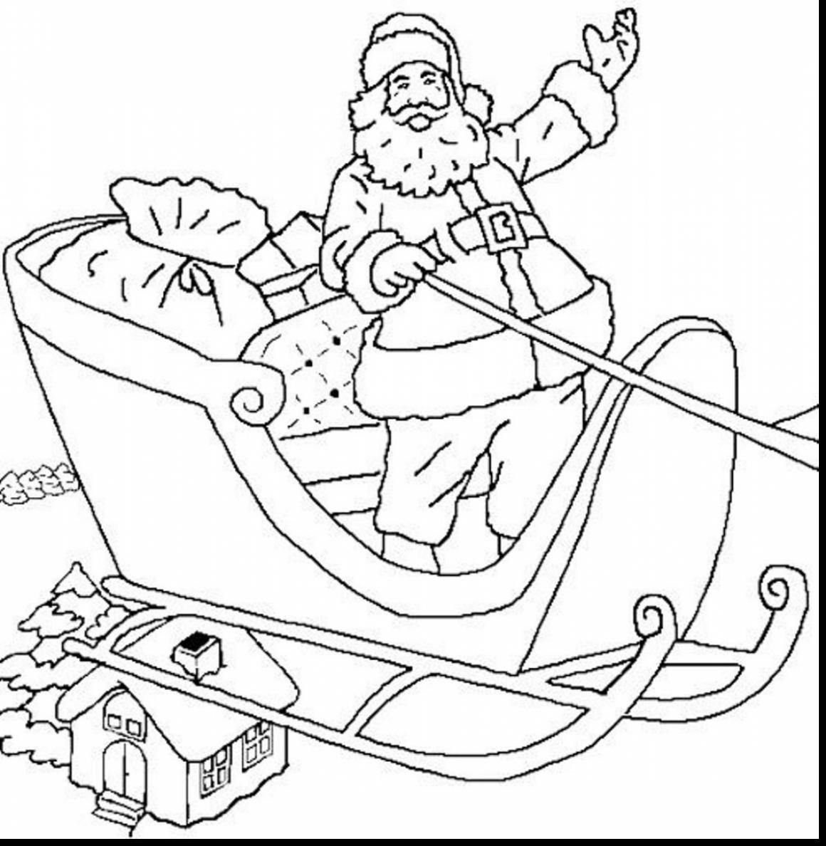 Santa Claus In Sleigh Coloring Page Santa Sled Coloring Page Chrismast And New Year