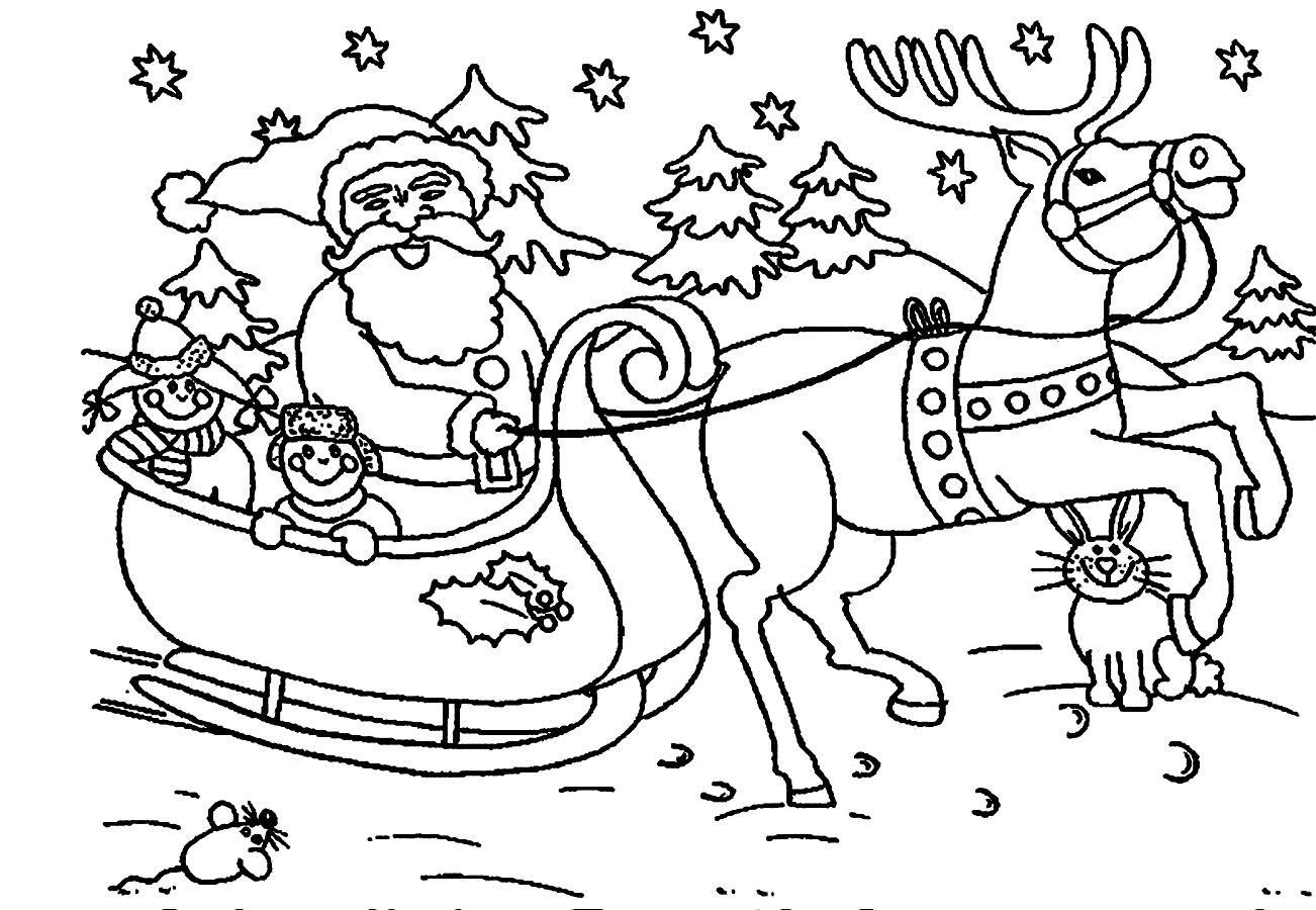 Santa Claus In Sleigh Coloring Page Santa Sleigh Coloring Page Fresh Christmas Coloring Pages For Kids
