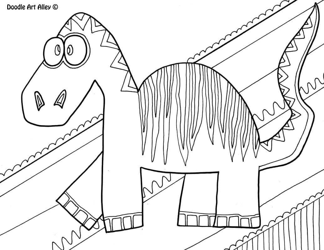 Scary Dinosaur Coloring Pages Dinosaur Coloring Pages Doodle Art Alley