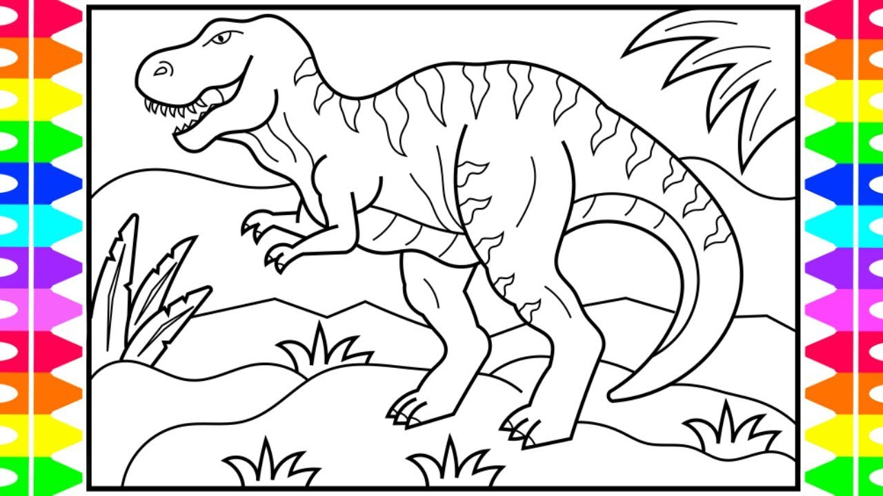 Scary Dinosaur Coloring Pages How To Draw A Dinosaur For Kids Dinosaur Drawing Dinosaur Coloring Book Pages For Kids