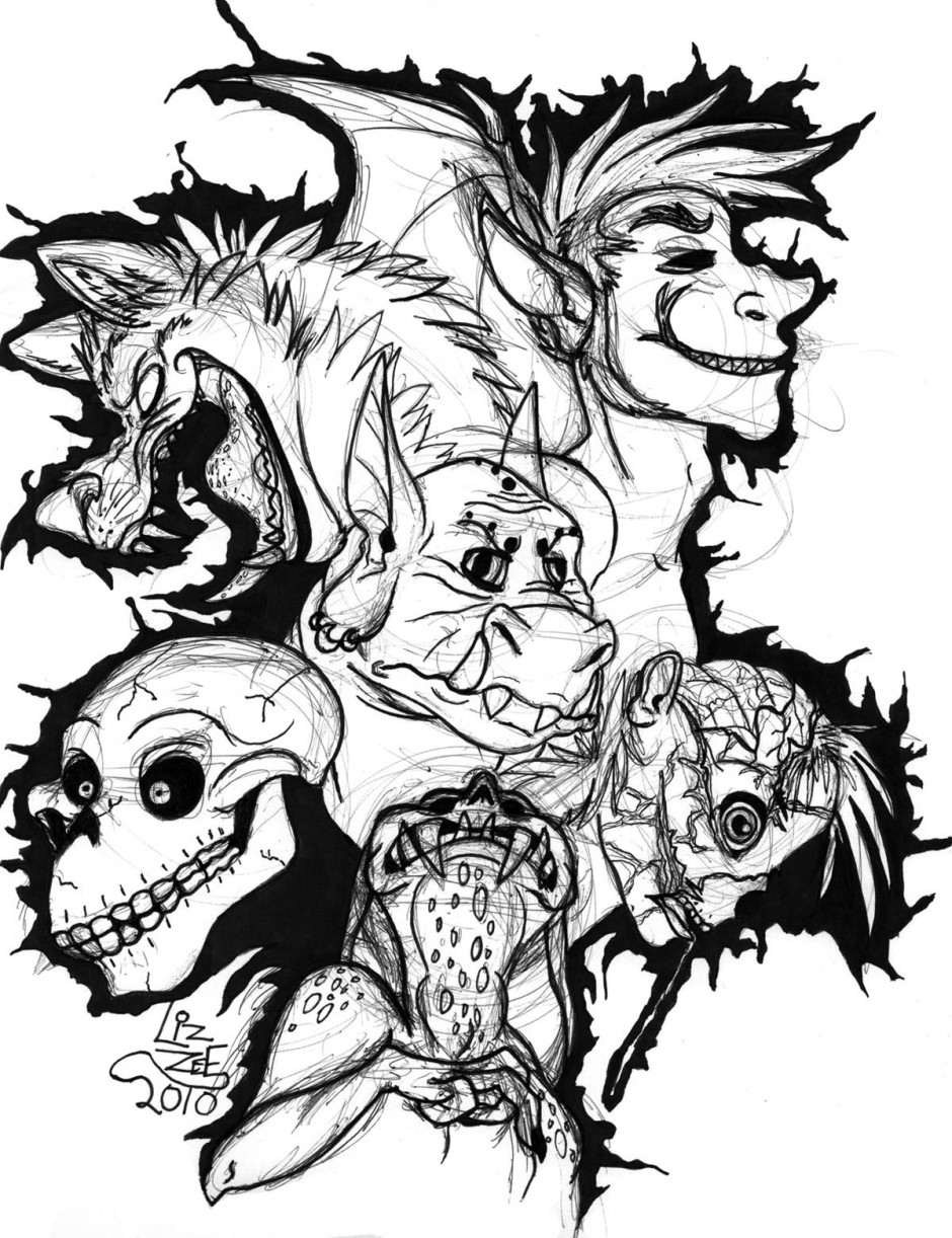 Scary Dinosaur Coloring Pages Scary Skeleton Coloring Pages Dinosaur Printable Monster Wolf