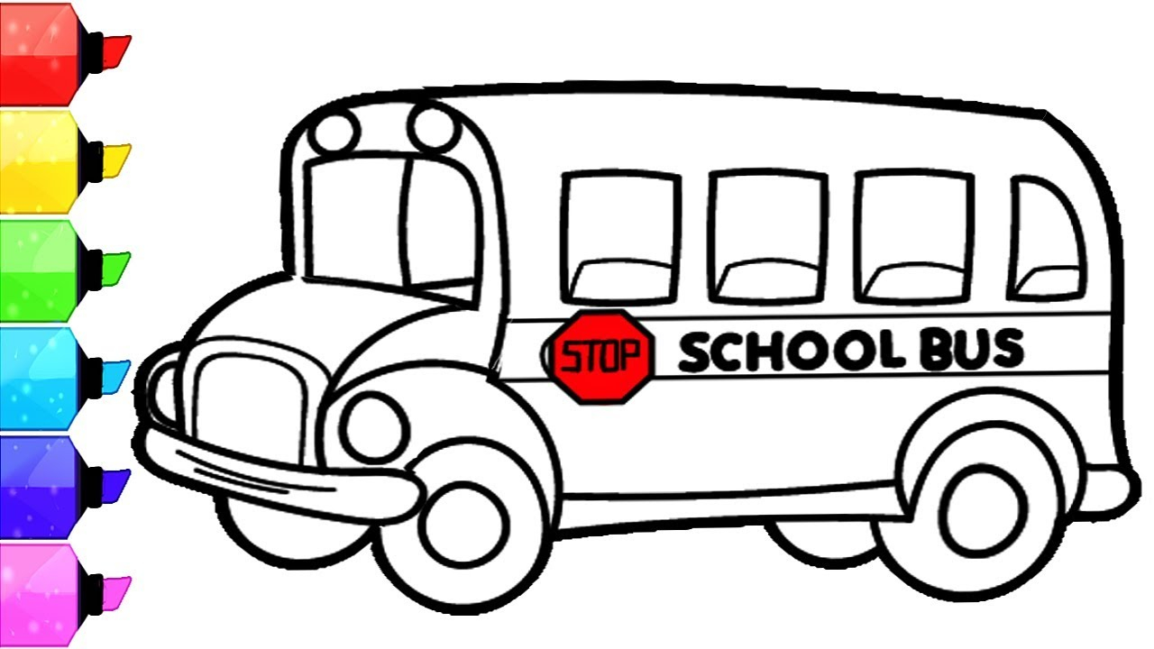 School Bus Coloring Page School Bus Coloring Pages How To Draw And Color School Bus For Kids Learn Colors For Kids