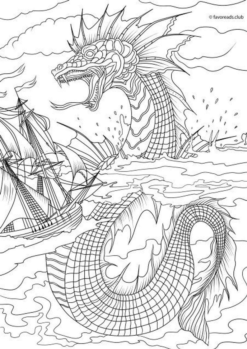 Sea Monster Coloring Pages Sea Monster Printable Adult Coloring Page From Favoreads Coloring Book Page For Adults And Kids Coloring Sheets Coloring Designs
