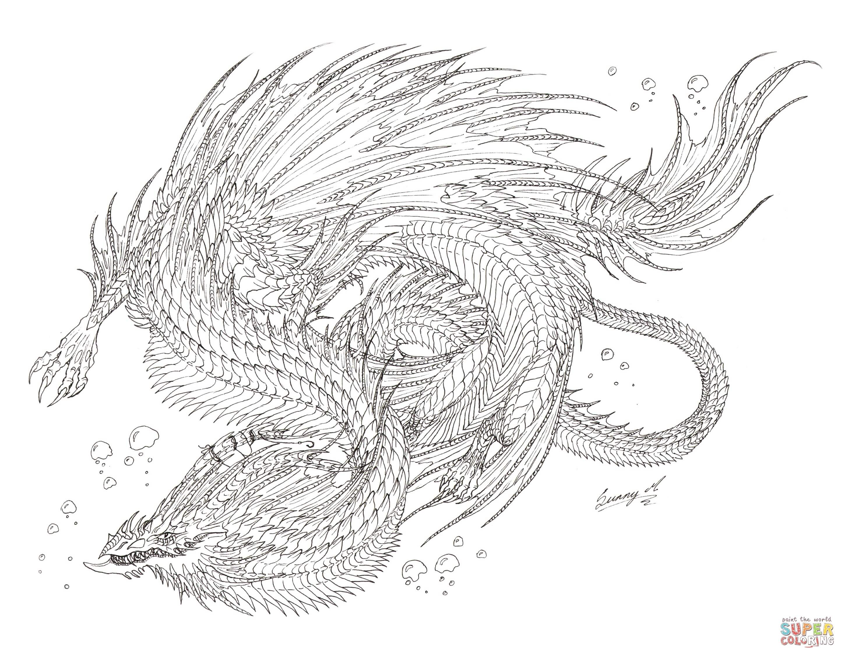 Sea Monster Coloring Pages Sea Serpent Dragon Coloring Page Free Printable Coloring Pages