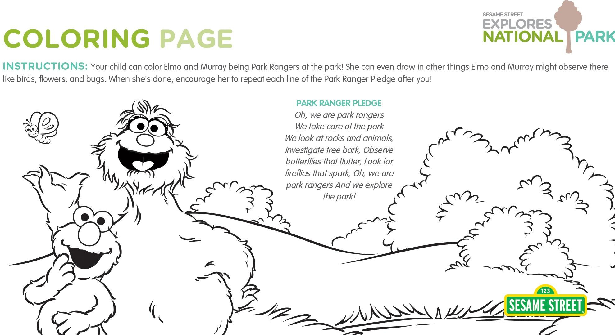 Sesame Street Sign Coloring Page National Parks Coloring Page Printable Sesame Street Pbs